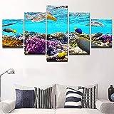 BOYH 5 Piezas Peces de Color Oceano Póster Lienzo Mural Modular Impresiones HD Imágenes Pinturas Sala