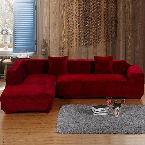 lovecover Möbel-Protector für Haustier Hund Hohe elastizität Sofabezug Verdicken sie Plüsch Couch-Abdeckung Volltonfarbe Schnittsofa werfen pad für l U-Form Sofa-A 3 Seater(75 * 90inch) -