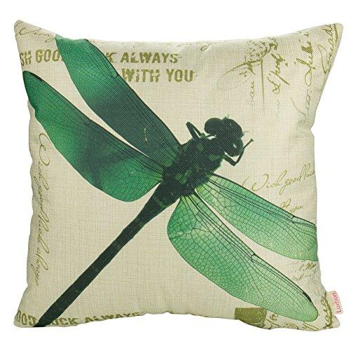 Dragonfly Garten (Luxbon Grün Libelle Dragonfly Kissenbezug Lendenkissen Wurfkissenbezug Pillowcase Cafe Haus Zimmer Auto Deko 18 x 18 '')