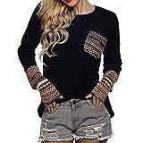 Sweatshirt Damen,Sonnena Frauen Kaschmir Pullover Langarmshirt Blumendruck Patchwork T-Shirt Casual Tops Blouse (M, Schwarz)