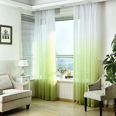 Tonsee Schürzen Tüll Voile Tür Fenster Gradient Vorhang Tuch Teiler Dekor (Grün)