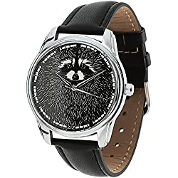 Zeigt schwarze - Damen Originelle Armbanduhr Ziz Accessories - Raccoon