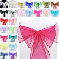 TtS Pack of 100 Organza Sashes Chair Cover Bows Sash Wider Sash Fuller Bows Wedding Party Birthday Decoration - DarkRed