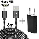 TheSmartGuard Micro-USB Ladegerät / 2in1 Ladeset / Micro-USB-Ladekabel mit Netzteil / Netzstecker für für Android Smartphones, Samsung Galaxy S7 / S7 Edge / S6 / S5 / S4 / S3, Note 5 / 4 / 3, HTC, Huawei, Sony, Nexus, Nokia, Kindle und viele mehr | Nylon | Schwarz | 3 Meter / 3m