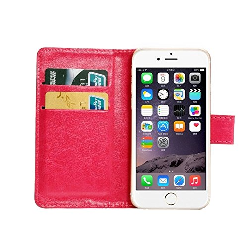 Wkae Case Cover 4,3-4,8 Zoll Universal-Crazy Horse Texture 360 Grad drehbaren Tragetasche mit Halter u-Karten-Slots für iPhone 6 &6S / Samsung Galaxy S4 / S3 / i9500 / i9300 ( Color : White ) Magenta