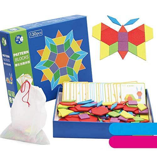 Selotrot Wooden Pattern Blocks Puzzle Box Educational Toys Challenge IQ for Children Kids - Pattern-blocks