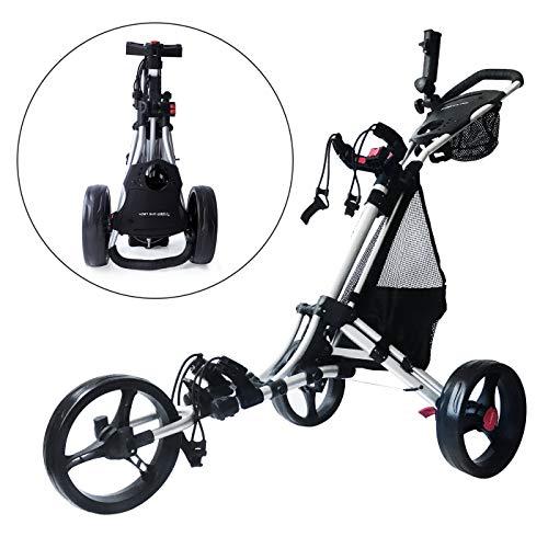 Trolem One Lock Easy Fold Carrito de Golf con 3 Ruedas Bolsa de Transporte Plateado