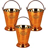 """Taluka (5"""" X 6"""" Inches Approx) Handmade Copper Steel Serving Bucket 