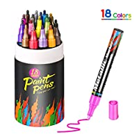 Aerb Metallic Marker Pens, Set of 18 Acrylic Paint Pens for Rock Painting, Ceramic, Porcelain, Glass, Stones, Pebbles, Fabric, Canvas,Wood & DIY Mug Design, Medium Tip [Quick Dry]
