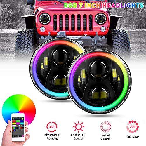 YEEGO 7'Faro Rotondo a LED RGB, 60W LED RGB Fari Halo Angle Eye Bianco DRL Ambra con Adattatore Bluetooth H4-H13 con Telecomando che Cambia Colore, 2 anni di Garanz