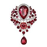 Yazilind Mode Lily Blume eingelegten Rhinestones Legierung Zirkonia Anhänger Brosche Frauen Mädchen Zubehör (rot)