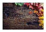 Wallario Herdabdeckplatte/Spritzschutz aus Glas, 2-teilig, 80x52cm, für Ceran- und Induktionsherde, Motiv Herbstblätter auf altem Holz