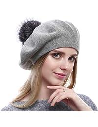 VEMOLLA Cappello Invernale Berretto di Lana per Le Donne con PON PON in  Vera Pelliccia di a156c2a4e5e3