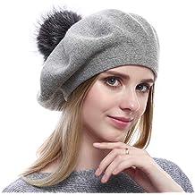 VEMOLLA Cappello Invernale Berretto di Lana per Le Donne con PON PON in  Vera Pelliccia di d41feccb77ca