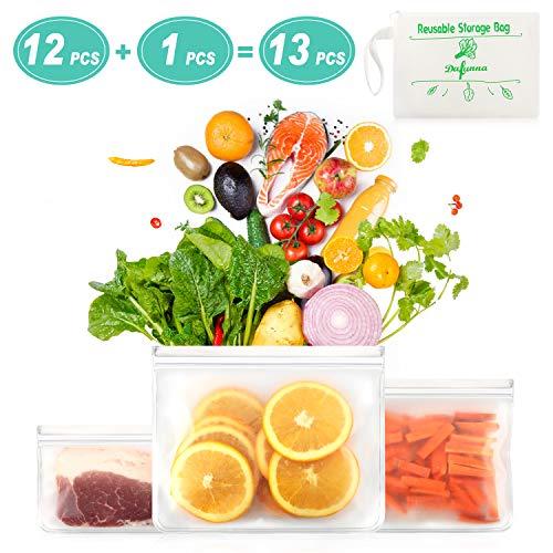 Gefrierbeutel Wiederverwendbar - Dafunna Silikon Lebensmittel Beutel Wiederverwendbare Aufbewahrungsbeutel - Küche Beutel aus PEVA - Obst und Gemüse Beutel für Obst Gemüse Fleisch und Brot 12 Pack