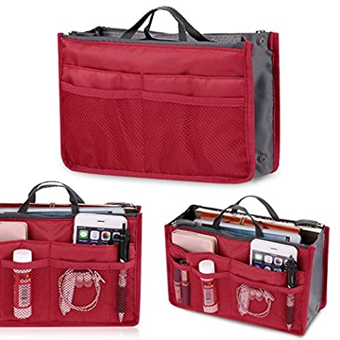 Sac cosmétique - All4you femmes stockage sac voyage multifonction cosmétiques maquillage Insert Pouch(Red)