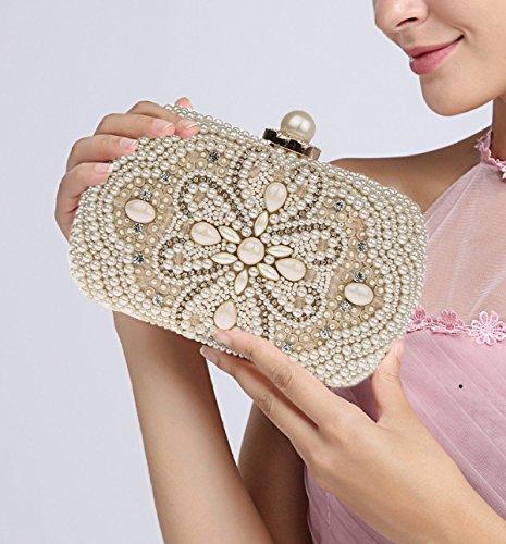Damen Perlen Perlen Taschen Perlen Taschen Mode Abendtaschen Diamanten Bankett Taschen Handtaschen White