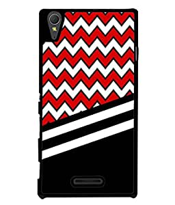 PrintVisa Black Damask Chevron High Gloss Designer Back Case Cover for Sony Xperia T3