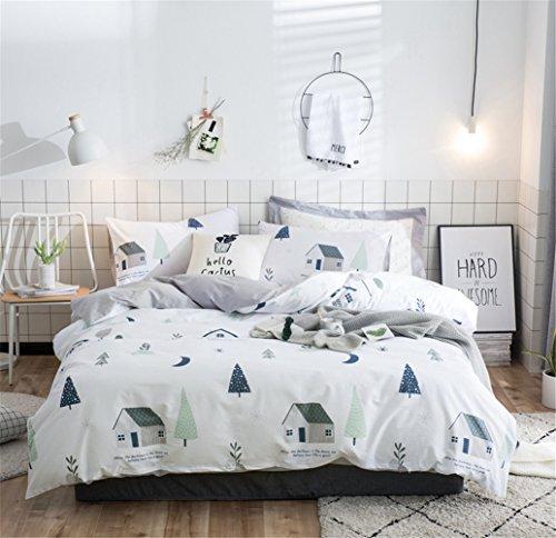 Bettwäsche Bettlaken Bettbezug Bettdecke Set 4 Stücke 100% Reiner Baumwolle Zeitgenössische Blume Mit 1*Bettbezug 1*Spannbettuch 2* Kissenbezüge, Voller Königin Bett Größe,B,Full -