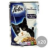 Set 20 FELIX Le Ghiottonerie Agnello 100 Gr. Bustina Katzenfutter