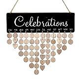 Feierlichkeitskalender aus Holz, Wandschild, für Familie, Freunde, Geburtstagsgeschenke, DIY Erinnerung, Wandkalender, Tafel für Zuhause, Dekoration, Schwarz