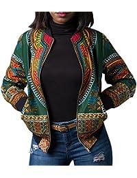 Chaqueta Casual Corta☀ EUZeo☀ Estampada Africana de la Moda de Manga Larga de Las Mujeres Camiseta Blusa Mujer Elegantes con Manga…