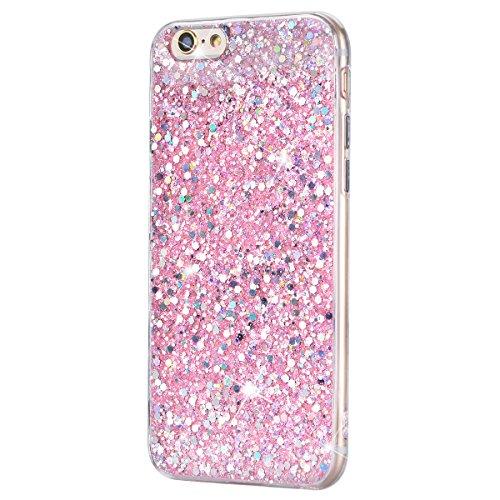 iPhone 6 / iPhone 6S Hülle, Yokata Rose Gold PC Hart Case mit TPU Silikon Weich Bumper Bling Glitzer Transparent Durchsichtig Dünn Case Schutzhülle Protective Cover Rose Gold