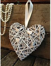 Gris de mimbre del sauce que cuelga de la guirnalda de la boda de la vendimia del corazón rústico elegante Decoración