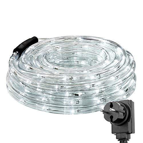LE 10m LED Lichterschlauch 240 LEDs, IP65 wasserfest, Strombetrieben mit Stecker, Ideale Weihnachtsbeleuchtung für Außen, Innen, Zimmer, Party, Deko usw. Kaltweiß