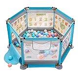 Playard für Jungen/Mädchen mit Bällen und Matte, Kindergarten mit Reißverschluss, 6-Panel-Raumteiler, 124 × 124 × 65 cm (Farbe : Blau)