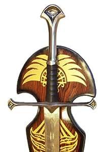 LOTR Herr Der Ringe Anduril Schwert Aragorn mit ein Hoelzernes Display Enthalten