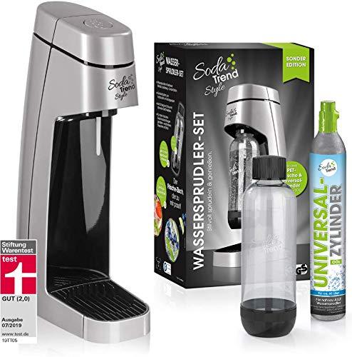 Soda Trend Style - Juego de Burbujas de Agua (Incluye Botella de Pet (Aprox. 850 ml de Capacidad) + Cilindro de CO2 para hasta 60 l, Color Plateado.