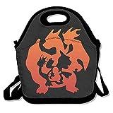 dsybtv bolsa para el almuerzo Pokemon Charizard–Bolsa para el almuerzo caja de almuerzo para mujeres hombres niños con correa ajustable