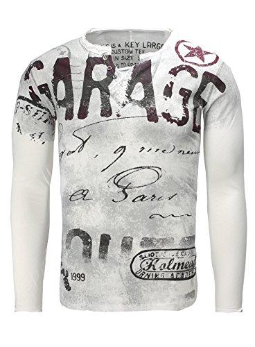 Key Largo Herren Longsleeve SCUDERIA Langarmshirt V-Neck Slim Fit Knopfleiste Verwaschen Vintage Look Roter Stern Weiß
