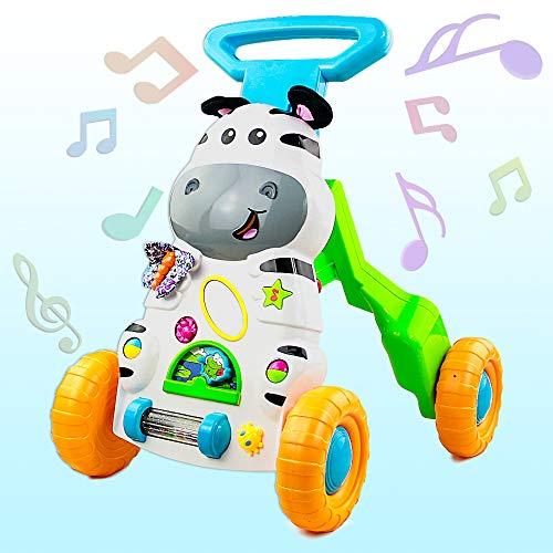 jerryvon Andador Bebe, Correpasillos Bebes Montessori Educativo Plegable Cebra Parlanchina Primeros Pasos con Música Andadores para Bebes 6 Meses +