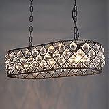Industriell Pendelleuchtetraditionell E27 * 3 Eisen Pendellampe Oval Klar Kristall Dekorative Lampenschirm Hängeleuchte Vintage Innenbeleuchtung Angelschnur Kronleuchter Esstischlampe Wohnzimmerlampe