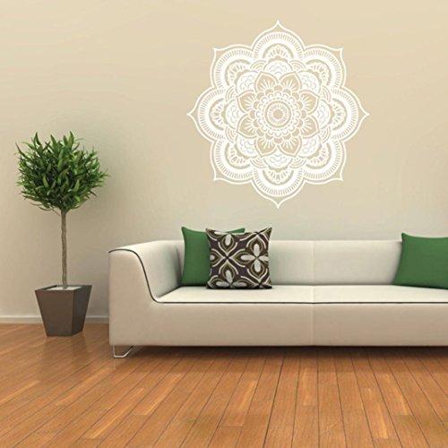 Saingace Wandaufkleber Wandtattoo Wandsticker,Mandala Blume Indische Schlafzimmer Wandabziehbild Kunst Aufkleber Mural Home Vinyl Familie (Weiß)