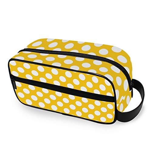 QMIN Tragbare Kulturtasche mit gelbem Punktemuster, Kulturbeutel, Reisetasche, Kosmetiktasche, Make-up-Tasche für Jungen, Mädchen, Damen, Herren (Mesh-plaid-rucksack)