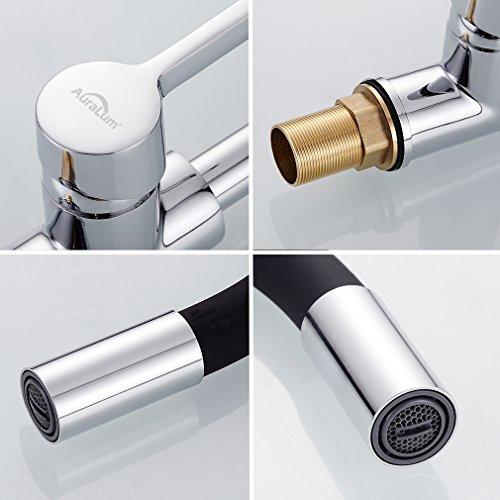 Auralum – Design-Küchenarmatur mit flexiblem Brausehals, Schwarz - 6