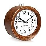 Navaris Analog Holz Wecker mit Snooze - Retro Uhr rund mit Ziffernblatt Alarm Licht - Leise Tischuhr ohne Ticken - Naturholz in Dunkelbraun