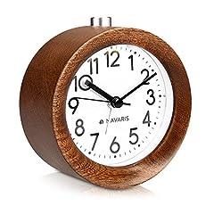 Idea Regalo - Navaris sveglia analogica da comodino in legno - orologio da tavolo con snooze - sveglia stile retro vintage silenziosa in legno scuro - rotonda
