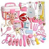 HKANG Doctor Kit, 39 Stück Kinderzahnarzt Chirurg Medical Kit mit Licht und Ton Einschließlich Elektronisches StethoskoP Laborkappe Medizinische Geräte für Jungen Mädchen Rollenspiele