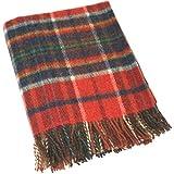 John Hanly Decke/Überwurf / Picknickdecke aus 100% Wolle, Größe L und S Hergestellt in Irland, Wolle, rot kariert, 182cm x 137cm