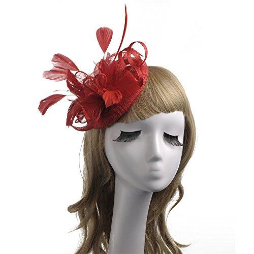Wenzhihua Womens Elegante Fascinators Headwear Blume Feder Stirnband -