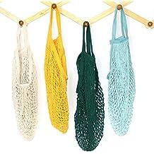 4Pack Portable riutilizzabile maglia cotone string net organizer per shopping Tote borsetta