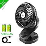 Fitfirst Rechargeable Mini Clip 5000mAh Battery USB Fan, 360°Quiet Operation Fan with Power Bank Function for Baby Stroller, Car, Gym, Office, Outdoor camping
