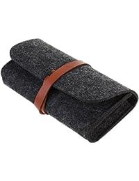 OULII Felt Eyeglasses Estuche de gafas de sol de almacenamiento de bolsa de lana lápiz Pen Case (Negro)
