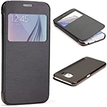 URCOVER® Samsung Galaxy S6 | Carcasa Protectora | Plastico + TPU en Negro | Funda con Ventana Flip Case Wallet Cover Estuche Smartphone
