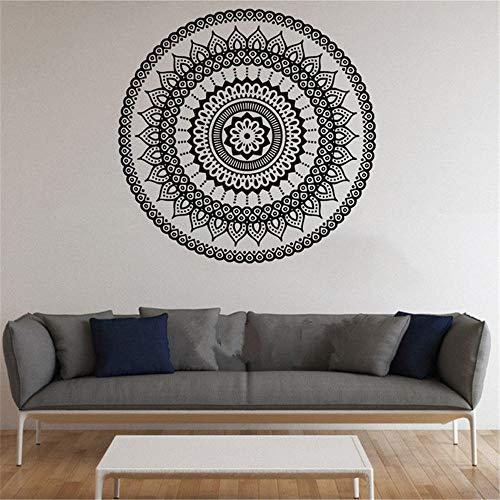 Ajcwhml Adesivi murali Mandala Indiano Rotondo Modello Simbolo Decalcomania del Vinile Namaste Yoga Arte Arredamento casa Ufficio Palestra dormitorio Club Sala da Pranzo Verde murale 100x100 cm