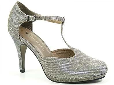 Tamaris 1-24438-25-970 Schuhe Plateau Pumps High Heels Stiletto , Schuhgröße:42;Farbe:Silber